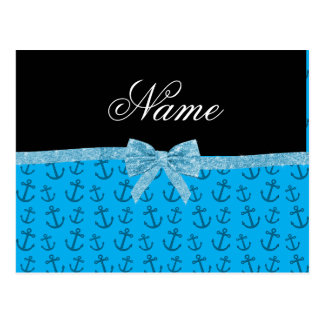 Personalized name blue anchors glitter bow post cards