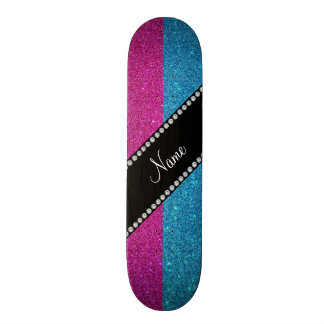 Personalized name blue and pink glitter skate board decks