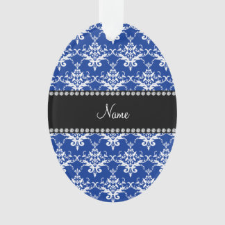 Personalized name blue and white damask