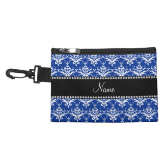 Personalized name blue and white damask accessories bags