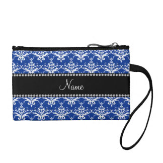 Personalized name blue and white damask change purses
