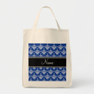Personalized name blue and white damask tote bags