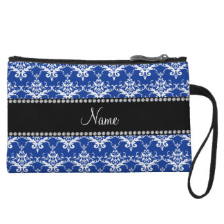 Personalized name blue and white damask wristlets