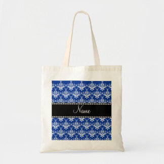 Personalized name blue and white damask bags