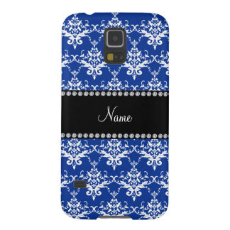 Personalized name blue and white damask galaxy s5 cover