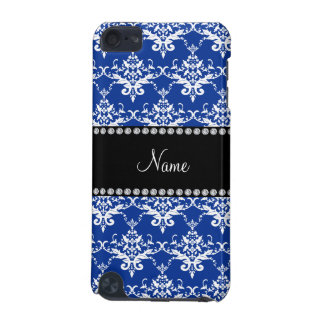 Personalized name blue and white damask iPod touch 5G cases
