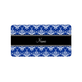 Personalized name blue and white damask labels