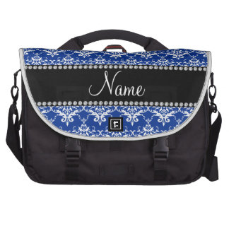 Personalized name blue and white damask laptop messenger bag