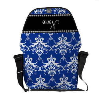 Personalized name blue and white damask messenger bag
