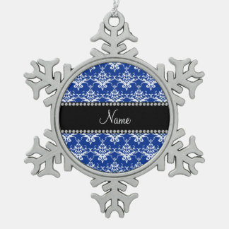Personalized name blue and white damask ornament