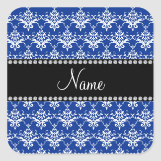Personalized name blue and white damask square sticker