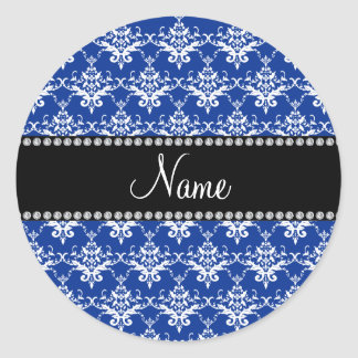 Personalized name blue and white damask stickers