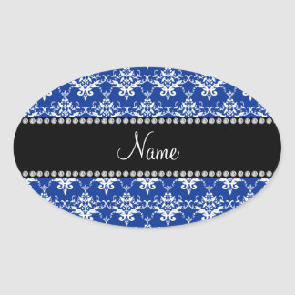 Personalized name blue and white damask sticker