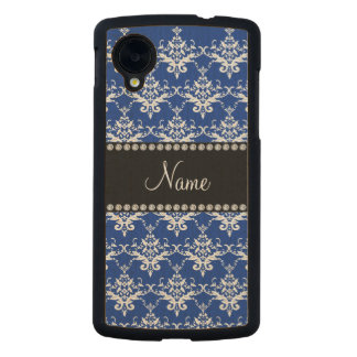 Personalized name blue and white damask carved® maple nexus 5 case