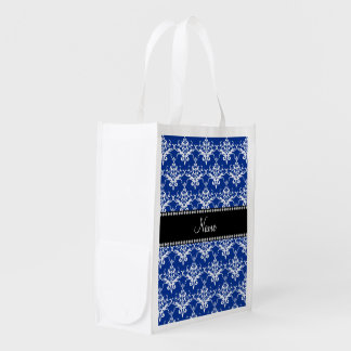 Personalized name blue and white damask market totes