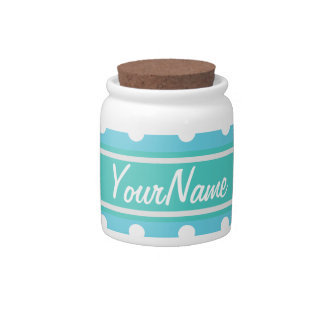 Personalized Name Blue and White Polka Dots Candy Jars