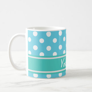 Personalized Name Blue and White Polka Dots Coffee Mug