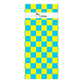 Personalized name blue and yellow checkers rack cards