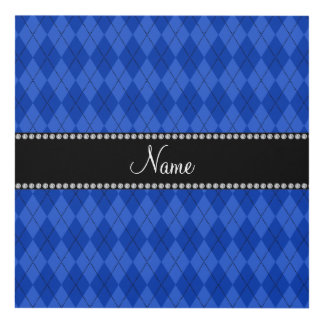 Personalized name Blue argyle pattern Panel Wall Art