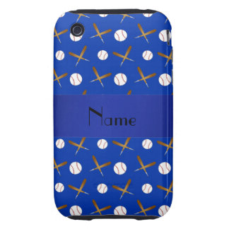 Personalized name blue baseball iPhone 3 tough covers