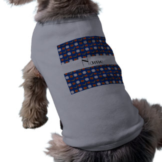 Personalized name blue baseball pattern dog tee