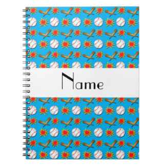 Personalized name blue baseball pattern spiral notebook