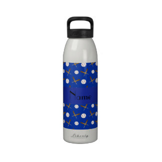 Personalized name blue baseball water bottle