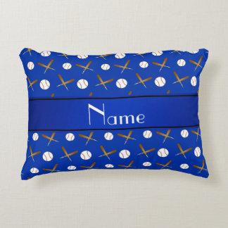 Personalized name blue baseballs bats accent pillow
