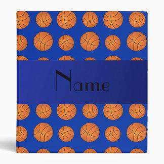 Personalized name blue basketballs 3 ring binder