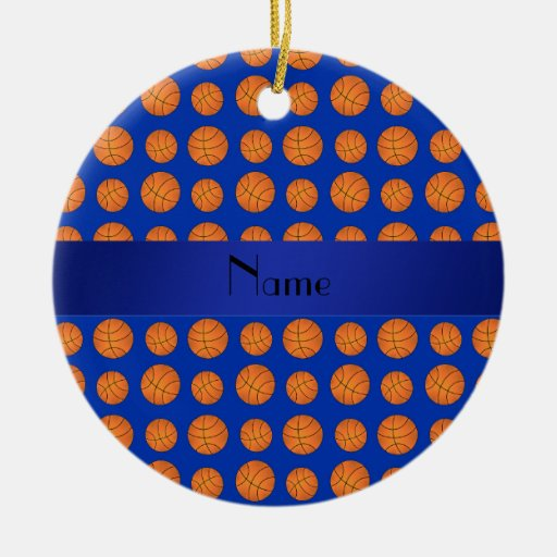 Personalized name blue basketballs ornament