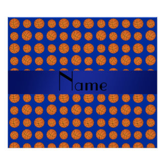 Personalized name blue basketballs posters
