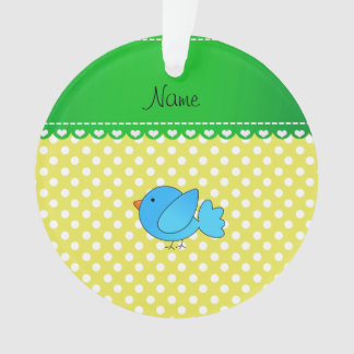 Personalized name blue bird yellow polka dots ornament