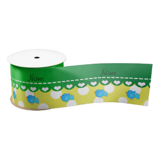 Personalized name blue bird yellow polka dots satin ribbon