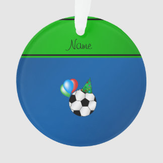 Personalized name blue birthday soccer