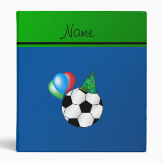 Personalized name blue birthday soccer vinyl binder
