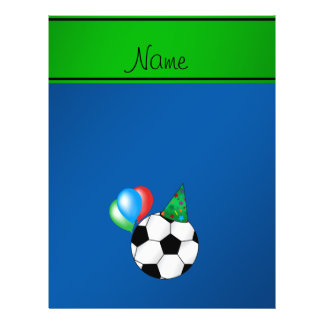 Personalized name blue birthday soccer flyer