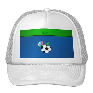 Personalized name blue birthday soccer trucker hat