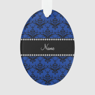 Personalized name blue black damask