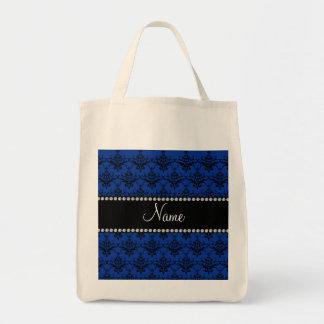 Personalized name Blue black damask Bag