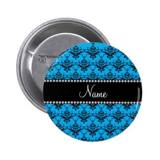 Personalized name Blue black damask Pinback Button