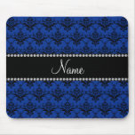 Personalized name Blue black damask Mousepads
