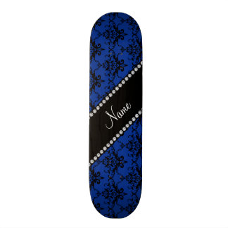 Personalized name blue black damask skateboard deck