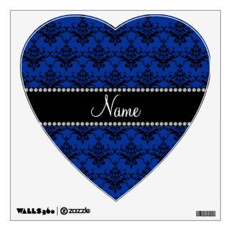 Personalized name Blue black damask Wall Decor