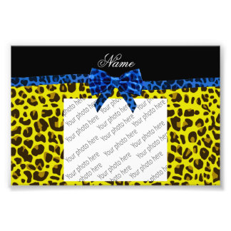 Personalized name blue bow yellow leopard photo print
