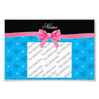 Personalized name blue bows diamonds with bow art photo