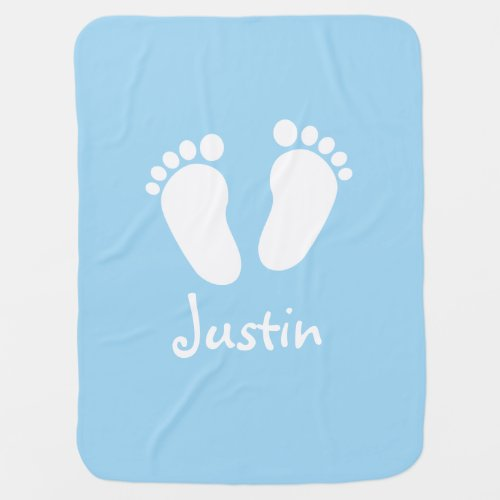Personalized name blue boy footprints baby blanket