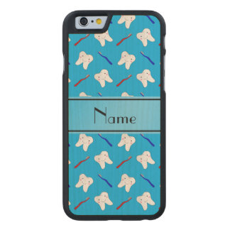 Personalized name blue brushes and tooth pattern carved maple iPhone 6 case