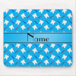 Personalized name blue brushes and tooth pattern mousepad