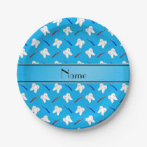 Personalized name blue brushes and tooth pattern paper plate