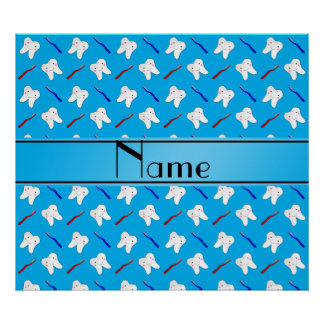 Personalized name blue brushes and tooth pattern posters